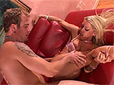 When Chelsea Zinns husband goes out without her, she keeps herself busy by fucking her stepson.  She sucks his cock and he eats her ass before plowing it with his rod.  He switches holes up and pumps his load all over her abused poop chute.