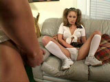 Christie Lee is just a horny little school girl. She starts this scene by touching herself and talking dirty to someone on the phone.  Dirty talk is not enough for this young girl, so she hires a male escort to take care of her.  Based on how Christie moans as he fucks her from behind, it looks like