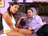 Sexy Gia Paloma is getting plowed by her high school guidance counselor.  Her drunken stepmother walks in, and takes turns with this 19 year old brunette.  It's hot watching the two ladies fight over a cock!