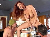 Sexy redhead Autumn Haze looks irresistibly fuckable while masturbating. Two dudes walk up to her and fuck her face.  One of these lucky studs starts fucking her in her bald pussy. Halfway through this scene, she's gets both cocks in her holes at the same time. From this point on, double fucking con