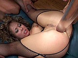 A very horny skank, Julie Night, swallows this guy's shaft before another dude steps in to join the fun in blasting her throat, pussy and asshole. They don't stop reaming this slut until the contents of their sacs are delivered to her face.