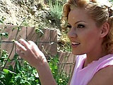 Sexy Claire James is out for a nice walk, when out of nowhere a dildo cover monster pops out.  This strange creature DPs Claire almost the whole scene and it even blows a goo substance on her face.