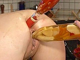 Alex Devine rubs down her wet pussy and nice perky tits as a guy slides dildos and bottles in and out of her holes. She then wraps her wet lips around the dude's meat, lubing it up for her vaj and ass. The guy pummels her holes, yanking out on occasion to offer her a taste before cumming on her fa