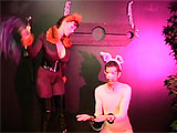This is the first part of the dominatrix version of the Three Little Pigs. When a punishing She Wolf stomps the first pig's house with her leather boots, the pig is angry and calls her names. But she doesn't take kindly to that, and she ties him up. She paddles him and whips his piggy ass, while