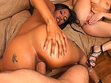 This scene has Kapri Styles and Rebeca Linares teaming up on a guy.  The two start out kissing and playing with each other before crawling over to suck on the guys cock.  They share sucking on his twig and giggle berries, and then take turns getting fucked, sucking each others pussy juice off his co