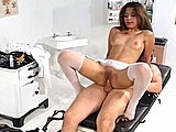This is a classic doctor and nurse scene, with the nurse being played by sexy Latina named Cataline.  The Doc tongue jacks her cooter before filling her mouth full of cock. The slut bends over to take his member full into her well maintained vagina. Then, he nails her rump for a while until he can't