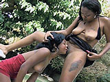 In this scene, two ebony chicks are outside playing.  They lick and suck each others clits, pussy lips, and assholes.  These two break out the double ended dildo and go cunt to cunt until they are both spent.