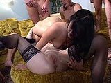 This is the second of a 4 clip orgy scene.  Dalny Marga, Jynx, and Victoria Spencer are taking on 8 guys.  Theyve all converged in one room here, sucking and fucking on the sectional couch and ottoman.  After a while, two of the girls get into a 69 on the ottoman.  The guys run the train on one o