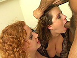 Cute redhead Cherry Poppens and busty Lisa Sparxxx are mouth fucking a large cock. Both of these girls can really gag down a dick!