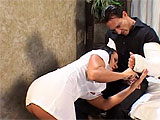 In this scene, Sandra Romain plays a sexy nurse.  Watch her suck her patient's cock and then get her holes cleaned out with his tongue.  She takes it in both of her fuck holes and then gets a shot of cum in her mouth.  This is the health care plan that every guy in the country should have.