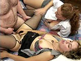 In this amateur scene, a blonde and a brunette tag team a hairy guy.  They suck his dick and then he fucks the blonde in her hairy pussy.  They finish him with a BJ and the blonde sucks out his cum.