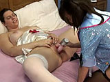In this amateur scene, Jen is a hefty girl dressed in a nurse's outfit.   She is lying on the bed getting her pussy stuffed with a vibrator by midget Vixen.  They switch positions and the midget gets her twat stuffed with a toy.