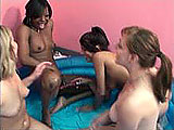 This scene has 4 amateur chicks playing around indoors in a play pool.  They each have a vibrator or dildo that gets shoved in a pussy.