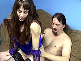 In this scene, Samantha Charles is sucking and fucking a guy on a couch.  There are people that can be heard having a threeway in the background.  These two fuck in a couple positions, and Samantha uses a vibrator on her clit while riding dick.  They finish in doggie where the guy blows inside the c