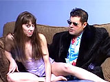 This is an amateur scene where a brunette, Samantha Charles, gets with a guy on a couch.  There is a group of chicks on a nearby pull-out couch that are dyking out.  When the guy blows his load on Samantha's ass, a random chick walks up and licks the man chowder up.