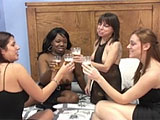 If you're going to fuck your girlfriend with a champagne bottle, New Year's Eve is the night to do it. And you should definitely invite another couple of dykey sluts to join you. This freaky foursome, decked out in black, decide to ditch the dildos and go with some cool, smooth empty Asti bottle