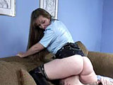 This naughty cop means business. After roughing Logan up a bit, she picks out a school girl trainee to help her teach him a lesson in respecting the authorities. After teasing his cock with her nightstick, Officer Fucksalot tells her protégé to service him orally. Meanwhile, she hoists her imposin