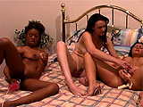 Veronica Snow, Mandy Moore, and Luna Blanca are hanging out on the bed.  You know where this is going.  They get naked and started licking tis and twats.  It isnt long before the big dildos and vibrators are pulled from the drawer and these chicks are stuffing those monsters up their wet snatches