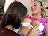 Emma Cummings and Devon Monroe are long time friends that are taking that friendship to a whole new level.  Emma makes Devon feel relaxed as she licks her friend's tits and then fingers her pierced clit.  They move to the bedroom where they eat each other out and end with a hot scissor fuck.