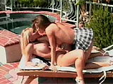 Dayton Rains and Bunny Luv get together for an afternoon of eating pussy poolside.  They lick each other's twats and then Bunny fucks Dayton with a vibrator.