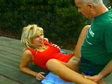 If you've never heard of 63 year old Dave Cummings, then you're in for a treat. Dave takes sexy blonde Zarina into port-a-jon. He whips out his erection, and she begins gulping it down.  After some good outhouse fucking, they move to a nearby picnic table.  This is where Dave slides his perfectly ag