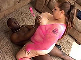 This whale dressed in pink mesh is Elizabeth Rollings.  Not a lot of words in this scene.  Just Elizabeth teasing and masturbating before sucking some black cock and getting fucked in her fat pussy.  This guy blows on her chin and chest.