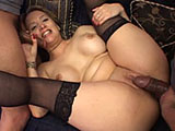 In this scene, Aurora claims she can handle two guys at once.  She strips her clothes off and the guy on the couch starts finger banging her pussy right away.  The other shoves his cock in her mouth.  She sucks and fucks these guys in all of her holes, proving that she can take two guys.  We only se