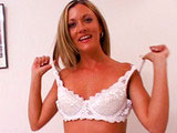 Tayla Rox is a blonde whore in white bra and lace panties that wants cock.  She plays with herself for a little while before sucking some dick.  This chick is very mindful of the balls with her free hand and sucking on them occasionally.  She gets fucked hard on the bed and takes his jizz to the fac
