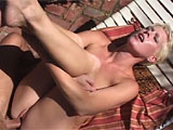 Kyra Rossi loves all things sex.  In this scene, she starts off outside with a couple of vibrators.  She needs more than one to get things going.  When her co-star joins her, he goes for the toes, licking and sucking them.  He fucks her feet before she takes his rod in her mouth.  They fuck for a li