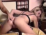 This dirty little ho knows how to take it in the ass like a pro! After a steamy anal session, she lets this stud fire his nut all over her face.