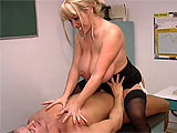 In this scene, Kandi Cox is horned up teacher that works with a student after school on his Japanese studies.  She seduces the young stud, pulling out his cock and taking it down her throat.  Kandi uses her large cans to aid in stroking that dick before getting her pussy pounded hard on the desk.