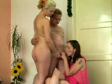 Two ok looking girls are having their pussy fucked by some old guy. The two girls sandwich his cock in between their mouths. They then take turns getting fucked and riding the old dude's face.
