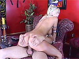 In this scene, Brittney Skye plays a genie that has been stowed away in a bottle for thousands of years.  She has built up quite a bit of sexual tension and releases it upon a lucky guy.  She gets her bald twat licked and sucks cock before riding it hard and deep.