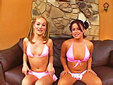 Katie Ray and Kacie Starr are on the couch and are quickly joined by a guy.  He starts fingering Kaci's ass and pussy as she licks Katie's shaved pussy.  The girls share sucking his cock and balls, and then Kaci licks Katie's asshole.  The guy starts drilling Katie in her teen pussy and has Ka