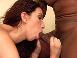 Leona Dulce's Latina pussy is getting humped on real hard by a big black cock!  She gets her Latin coochie filled with cum at the end.