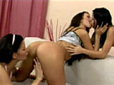 3 dark haired chicks are in the living room, rubbing each other.  The action slowly progresses as they kiss, lick, and finger each other.  Vibrators are introduced and shoved in and out of all holes.  They take turns getting each other off.  This scene is relatively tame, bordering on softcore.