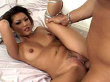 In this scene, Charmane Star does the standard intro tease, and then she is joined by her stunt cock.  He licks and fingers her neatly trimmed pussy and then gets a nice BJ.  They fuck in the regular positions, and then he drops his load all over Charmane's tongue.