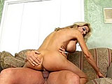 Lexi Carrington is an older chick lounging on the couch when her sons friend comes over.  He compliments her body and plays with her big pierced tits.  Lexi may be older, but she still knows how to suck and ride cock.  This chick likes her cum the old fashioned way; blasted inside her pussy.
