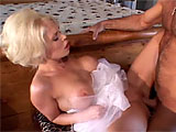 A newlywed blonde slut, Jamie Brooks, is stuck at the house with her husband's father and she comes up with something to kill the time.  She starts rubbing his cock and pushes him to his knees to eat her bald pussy.  It's her wedding day and she is gonna get laid, no matter who it is.   Jaime dr