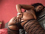 Beauty Dior is having some alone time on the couch.  This ebony beauty pulls her panties aside and rubs her shaved pussy.  She fingers her fuck hole and brings herself to orgasm a couple of times.
