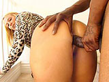 In this scene, Jordan Blue comes home and has an intruder come in and have his way with her.  She doesn't object too much and sucks his big black cock deep in her throat.  They move from the kitchen to the stairway and she climbs on top to get stuffed in her pussy.  Jordan gets an open mouth facia