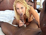 In this scene, Melanie Monroe is fucking her first black guy.  She quickly pulls out his cock and gives him a sloppy blowjob and titty fucking.  Melanie gets her pussy pounded and takes a shot to the face.