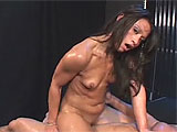 This tiny Asian stripper Jayna Oso has minuscule tits and a slim little pussy. She works herself over hard with a long, glass dildo, getting nice and sloppy for her guy's throbbing meat stick. Her perfect body fits onto his shaft and she rides him so aggressively, they both end up covered in sweat