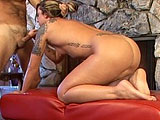 Fiona Cheeks gives her man a sloppy blowjob in front of the fireplace.  They fuck in a few positions, and he licks her asshole for good measure.  When its all over, Fionas bald pussy is oozing cum out over her puckered back door.