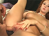 Audrey Hollander is just an absolute whore.  This slut can take anything you throw at her.  Watch as she gets DP'd with a cock and a toy.  She first takes one in each hole. Then she takes them both in her sloppy vag.  The Pièce de Résistance is when Audrey gets cock and the dildo stuffed in her
