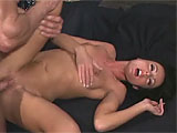 For this scene, Melissa Lauren starts off with a sexy striptease, showing off her pierced nipples and bald pussy.  She gives her costar a handjob to get him ready, and then takes it in her pussy and tight little asshole.  Melissa sucks that dick dirty and gets a mouthful of cum that dribbles out in
