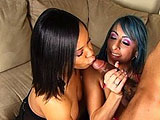 Karen Kougar and Aryana Adam are gettin it on while on the couch until a huge black cock walks in.  They both suck and fuck him until he pulls out of Karan and cums on her pussy.  Aryana licks it up and shares it with Karen with a hot cum kiss.