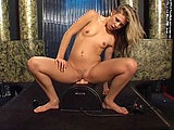 The slutty Leah Luv is the feature of this solo scene.  She does a sexy dance, and then gets down to business by shoving a vibrator in and out of her ass, and then sucking her ass juice from it.  Next up for Leah is a sybian machine to ride.  She puts the thing on turbo speed and then sucks her swee