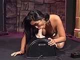Mika Tan shows off her sexy body here in a sexy geisha outfit.  After her striptease, she demonstrates her skills at riding a sybian machine.  Mika gets herself off multiple times as she grinds her trimmed pussy on the vibrating machine.
