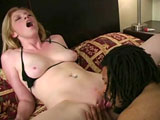 This cute blonde is taking a black cock. She loves the black pole! The guy nails her wet pussy in a bunch of positions before getting sucked off.